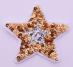 Patch silver-gold star with sequins 65 mm