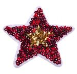 Red-gold star patch with sequins 65 mm