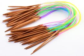 Circular wooden knitting needles 40 cm